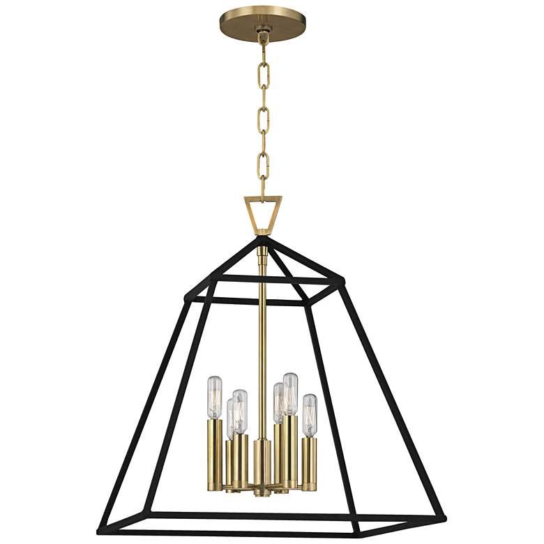 """Hudson Valley Webster 19"""" Wide Aged Brass Pendant Light ..."""