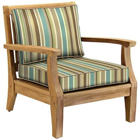 Woodbury Seagrass Heather Teak Wood Outdoor Club Chair