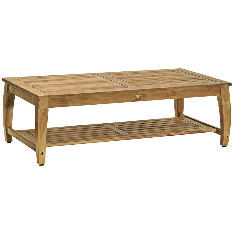 Woodbury Rectangular Natural Teak Wood Coffee Table ...