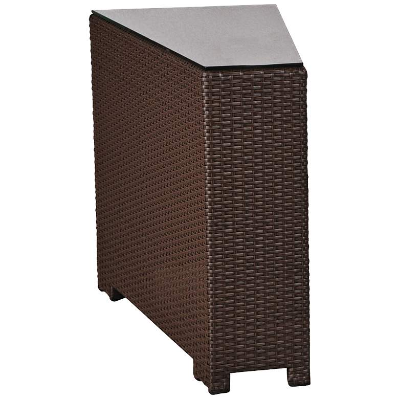 Elements Weave Glass-Top Outdoor Wedge End Table