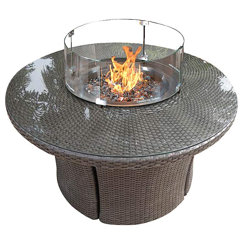 """Elements 42"""" Round Outdoor Weave Marble-Top Fire Table"""