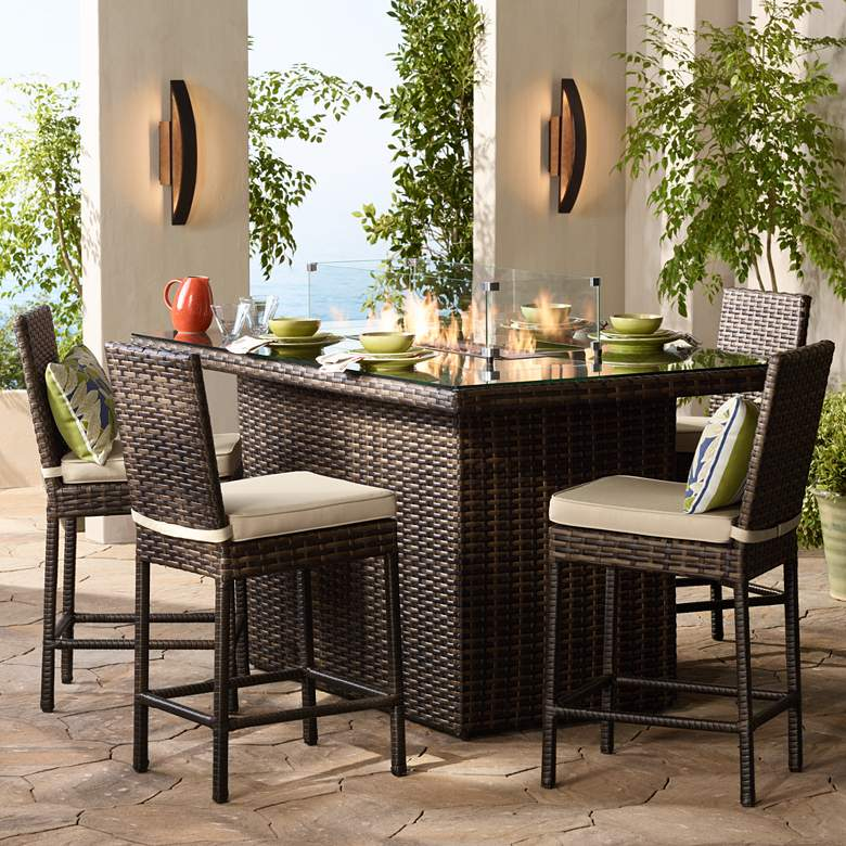 """Elements 72"""" Wide Outdoor Weave Glass-Top Fire Table"""