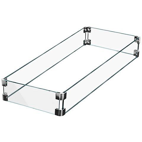 Elements Rectangular Fire Table Glass Wind Screen