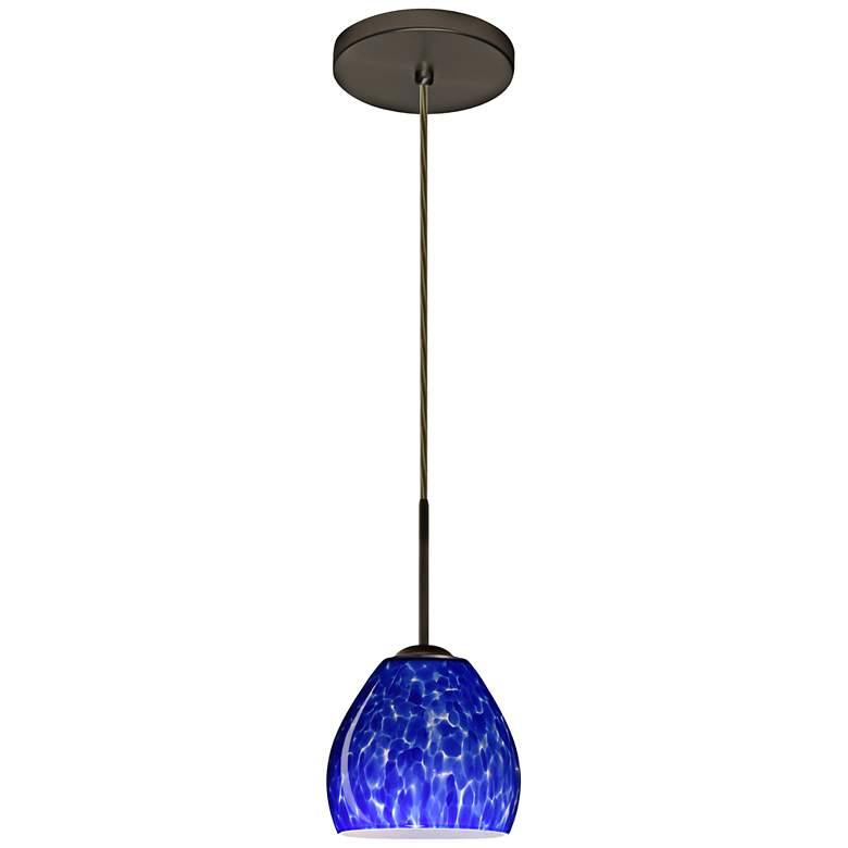 "Besa Bolla 5 3/4""W Bronze Blue Cloud Glass LED Mini Pendant"