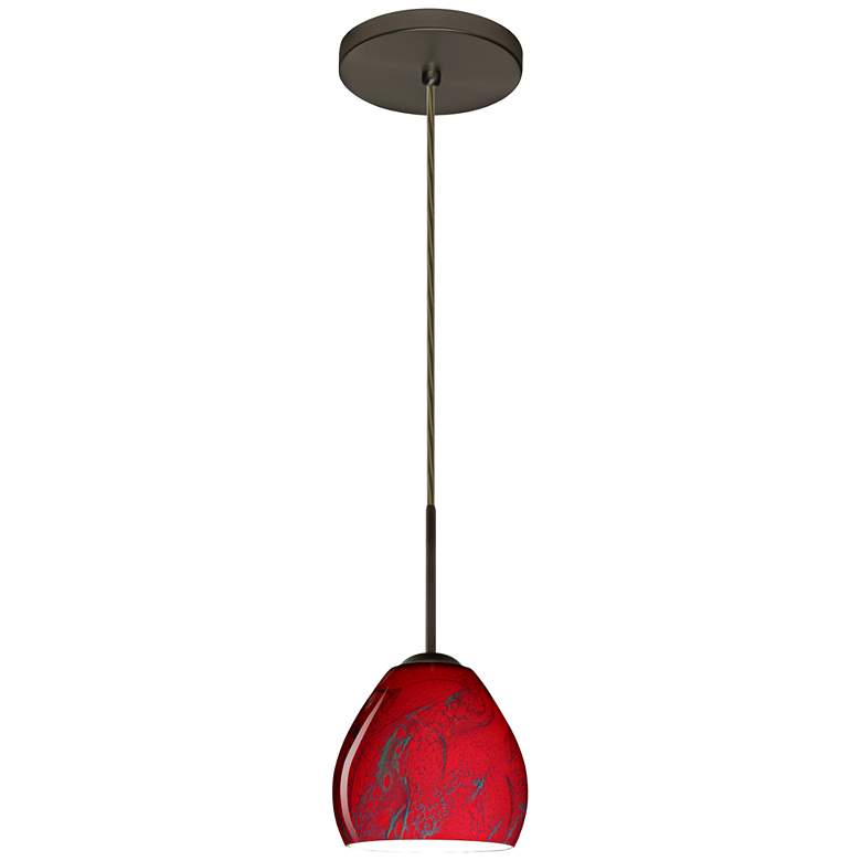 "Besa Bolla 5 3/4"" Wide Bronze Magma Glass LED Mini Pendant"