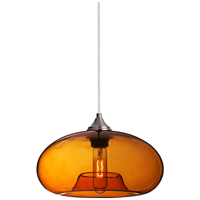 "Besa Bana 10 1/2""W Satin Nickel Amber Glass Mini Pendant"
