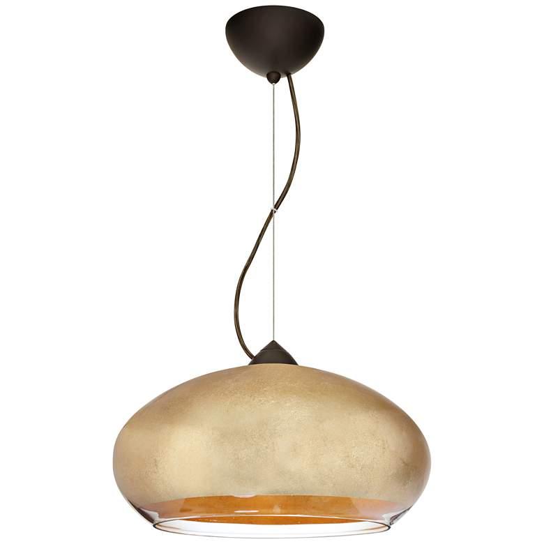 "Besa Brio 13 3/4""W Bronze Gold Foil Glass LED Pendant Light"