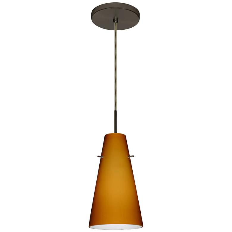 "Besa Cierro 5 2/3"" Wide Amber Glass Bronze LED Mini Pendant"