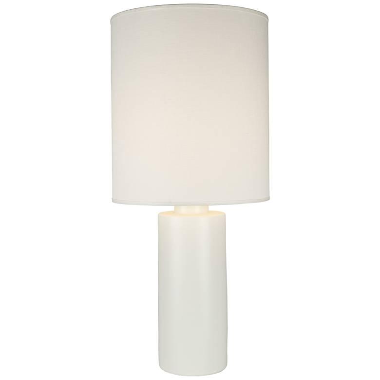 Circa White Ceramic Table Lamp with Ivory Ipanema Shade