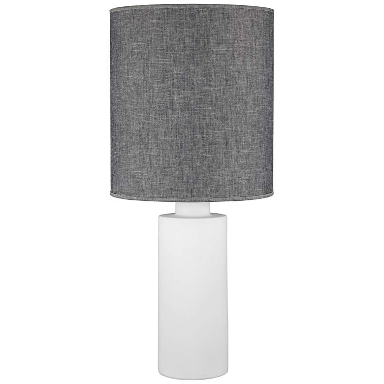 Circa White Ceramic Table Lamp with Penguin Tweed Shade
