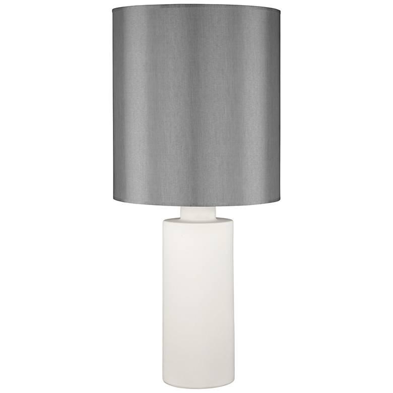 Circa White Ceramic Table Lamp with Platinum Silk Shade