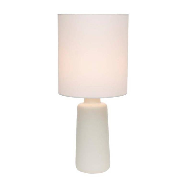 Circa White Ceramic Table Lamp with White Linen Shade