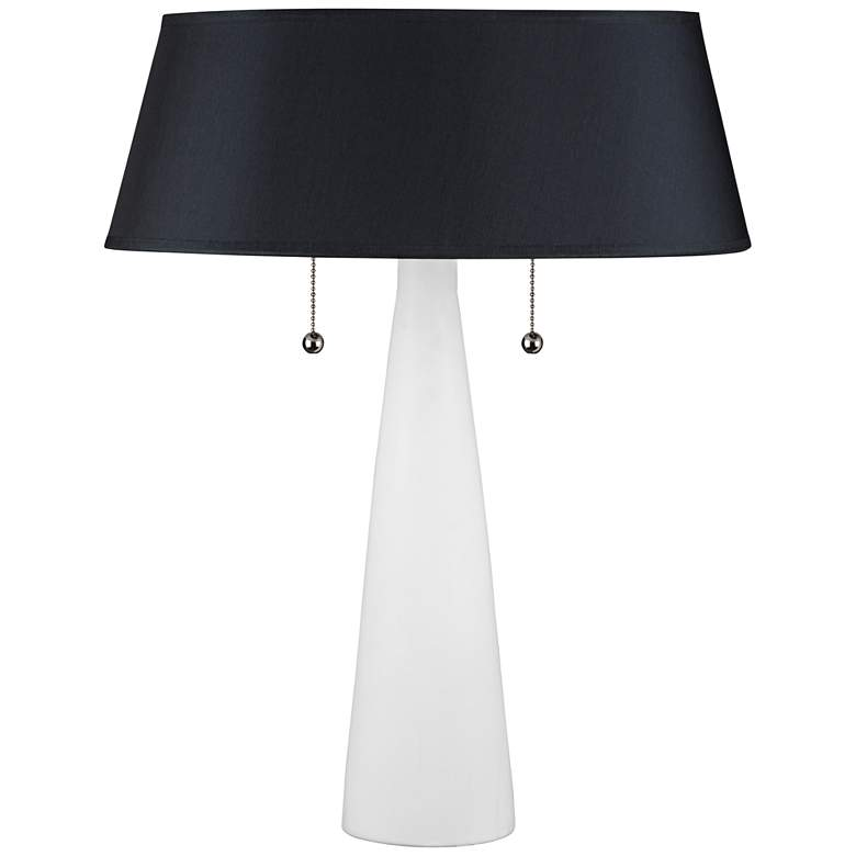 Lizzie White Ceramic Table Lamp with Black Silk Shade