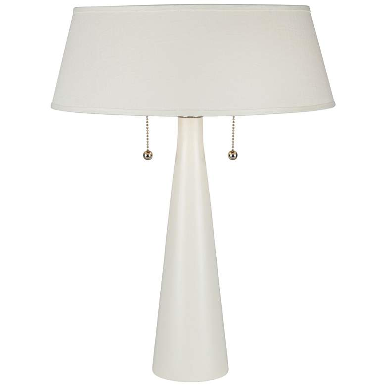Lizzie White Ceramic Table Lamp with Ivory Ipanema Shade