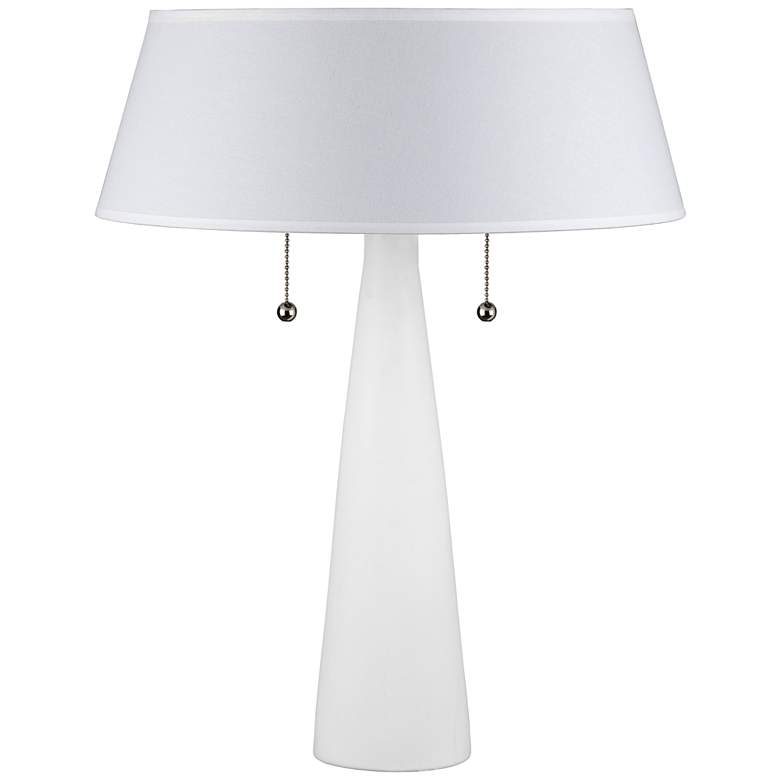 Lizzie White Ceramic Table Lamp with White Linen