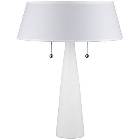 Lizzie White Ceramic Table Lamp with White Linen Shade