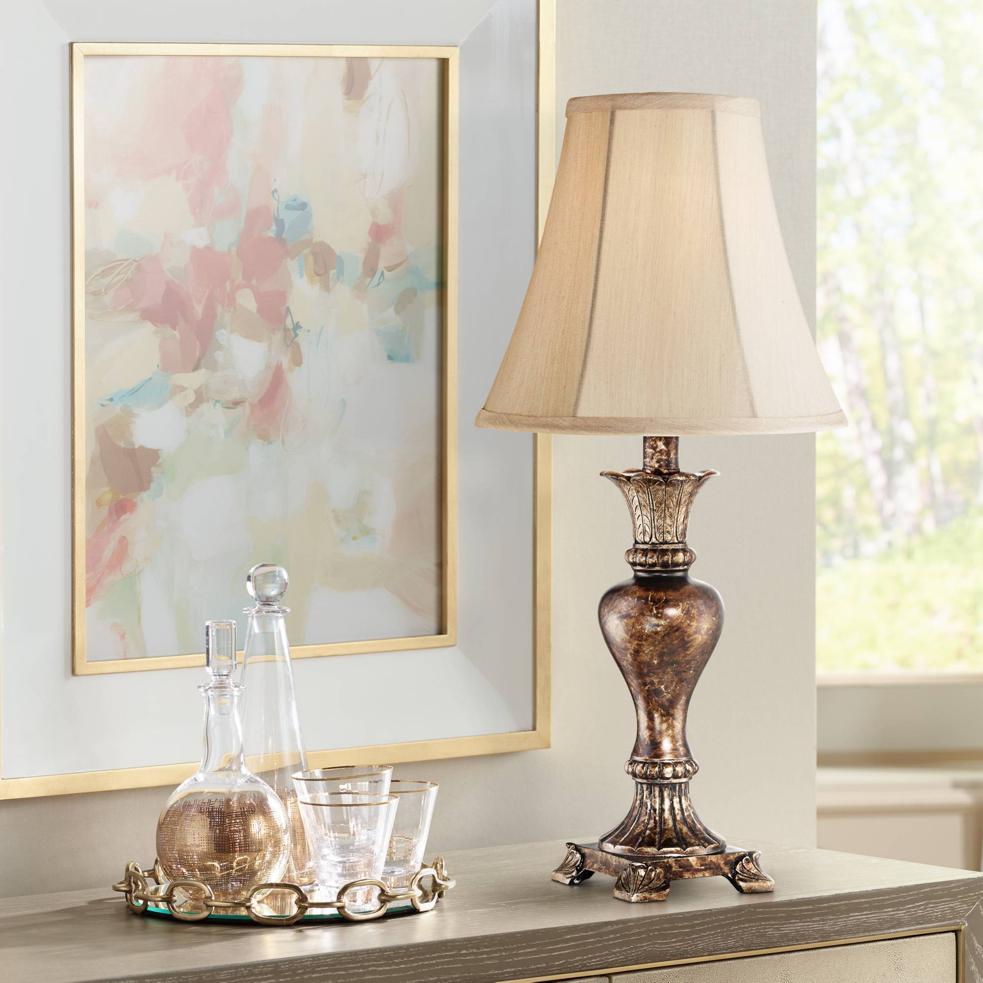 Details about Traditional Table Lamp Warm Bronze Urn Footed Base for Living  Room Bedroom
