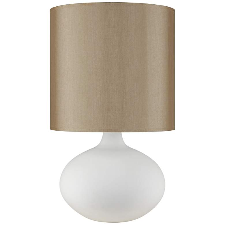 Pops Bisque Ceramic Table Lamp with Croissant Silk Shade