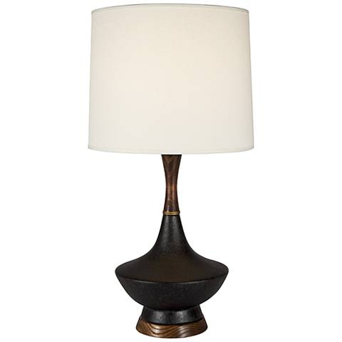 Duck Cast Iron Wood and Ceramic Table Lamp with Ivory Shade