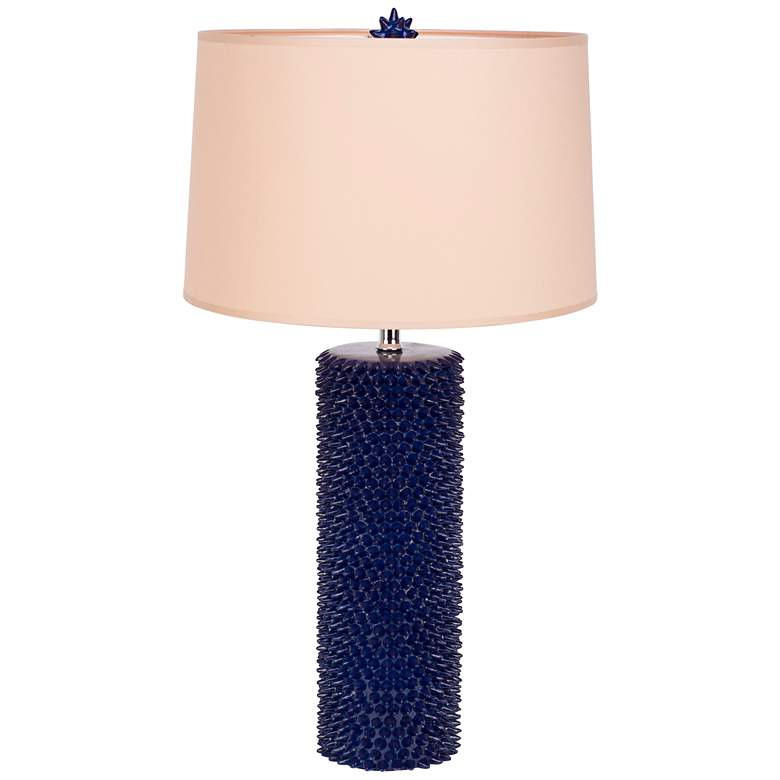 Lapis Lazuli Spiky Table Lamp with Latte Chintz
