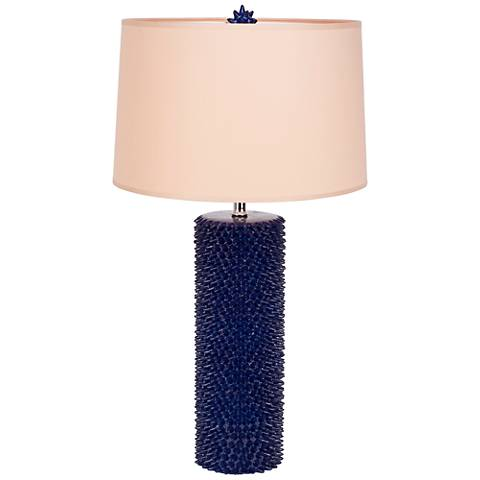 Lapis Lazuli Spiky Table Lamp with Latte Chintz Shade