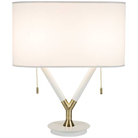 Blip Shorty White Lacquer and Brass Table Lamp