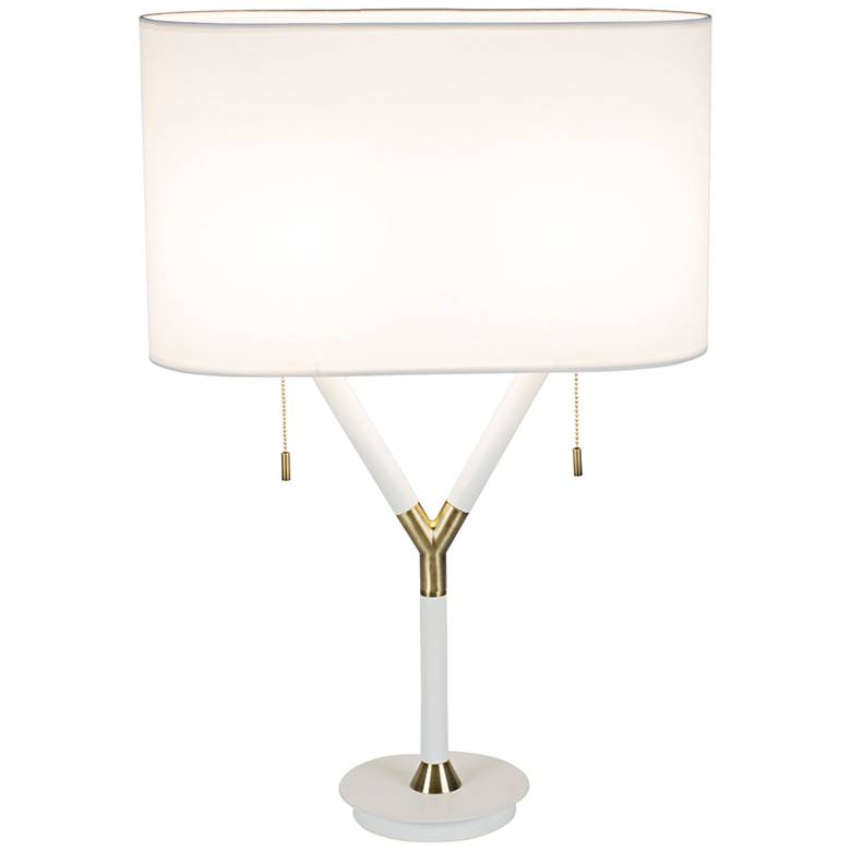 Blip Tall White Lacquer and Brass Table Lamp