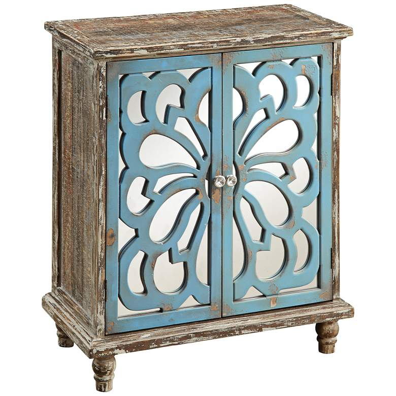 """Delvale 31 1/2"""" High Distressed Blue 2-Door Accent Chest"""