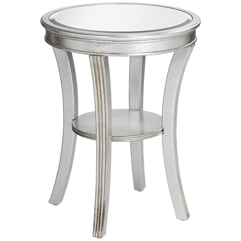 """Brookhurst 20"""" Wide Kenney Silver Leaf Round Accent Table"""
