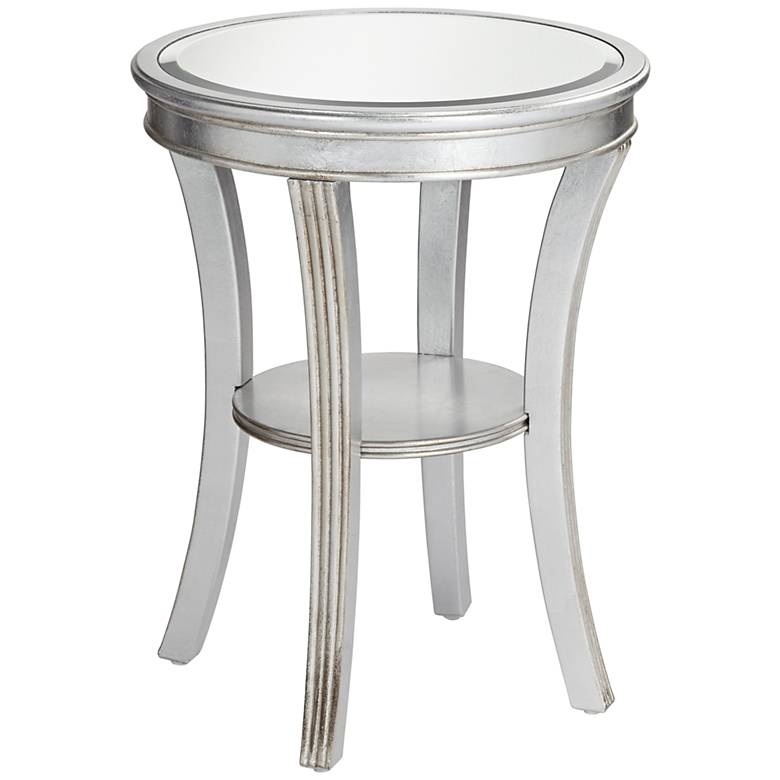 "Brookhurst 20"" Wide Kenney Silver Leaf Round Accent Table"