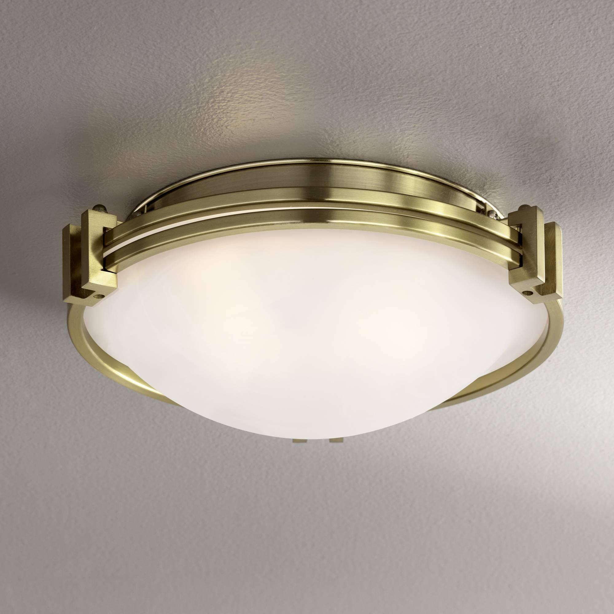Details about Art Deco Ceiling Light Flush Mount Fixture Brass 12 3/4\