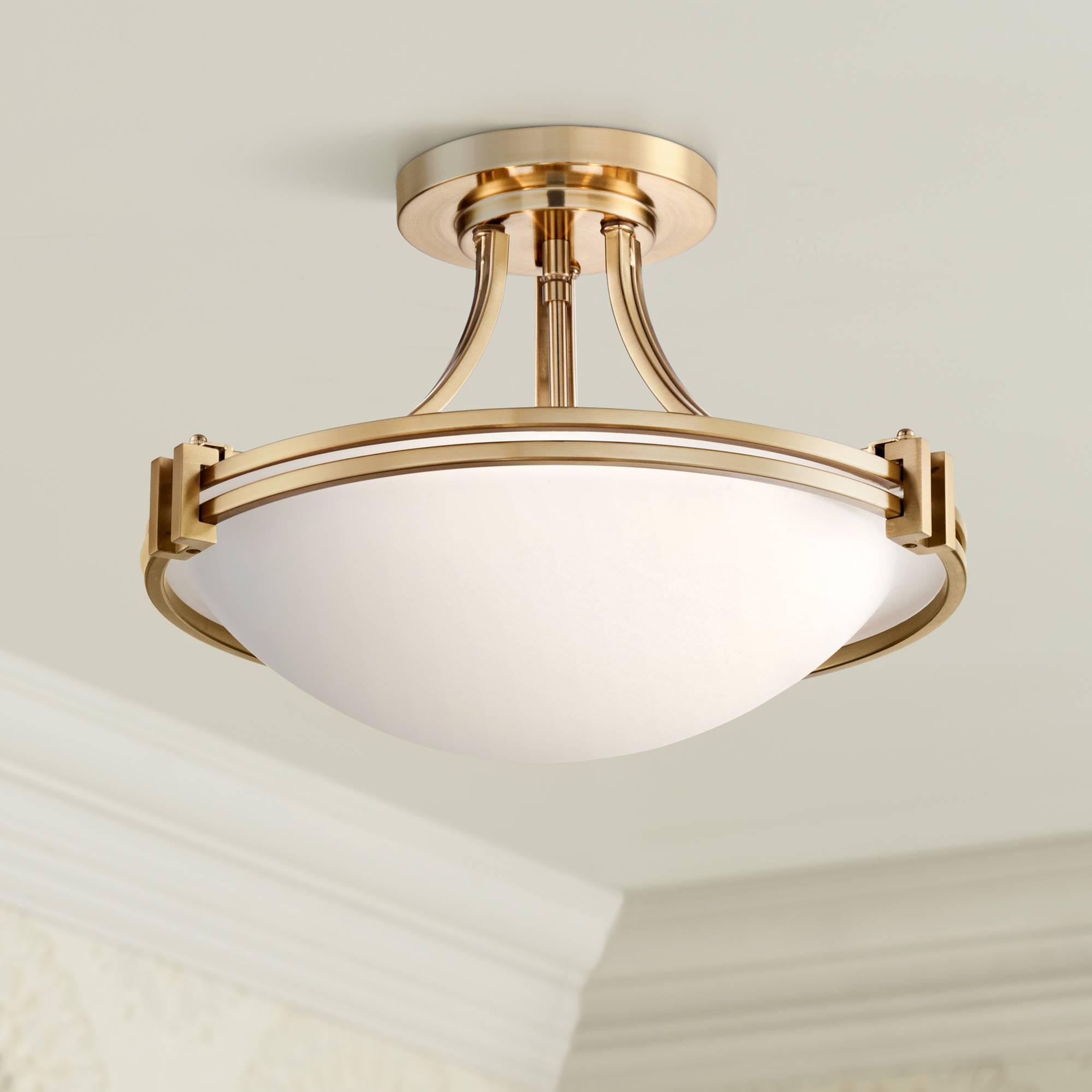 Details about Modern Ceiling Light Semi Flush Mount Fixture Art Deco Brass  16\