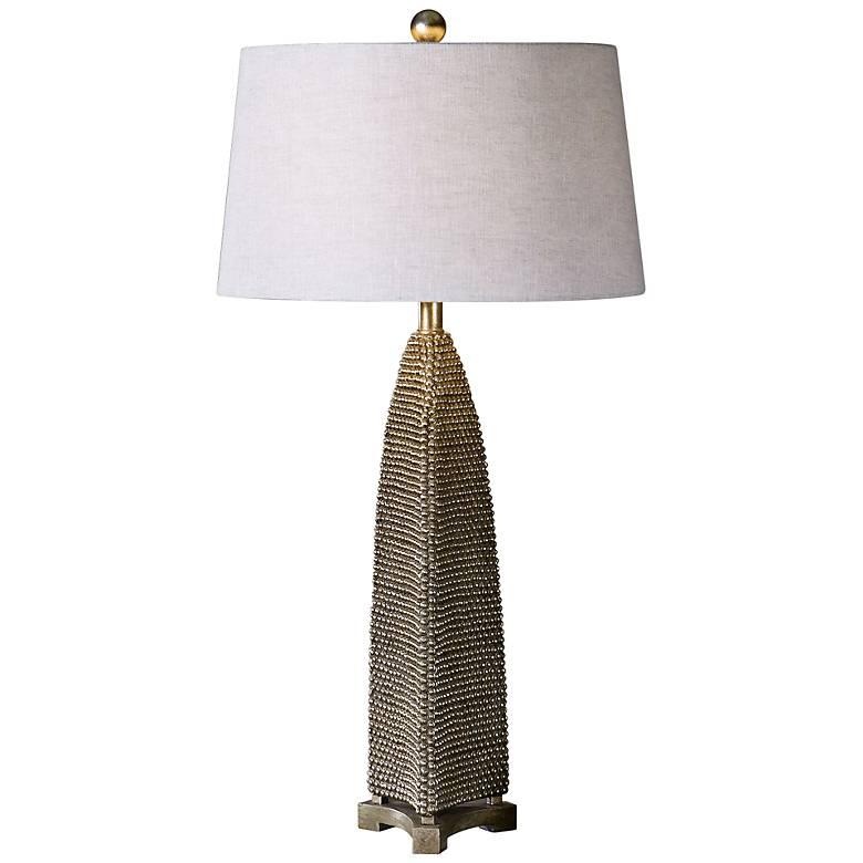 Uttermost Kolva Beaded Texture Silver Leaf Table Lamp