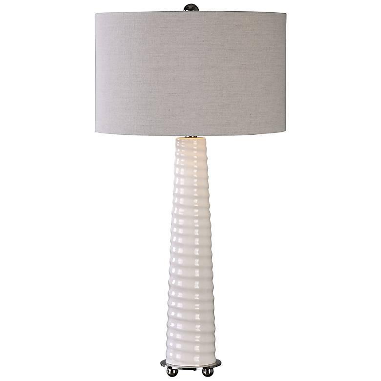 Uttermost Mavone Gloss White Glass Buffet Table Lamp
