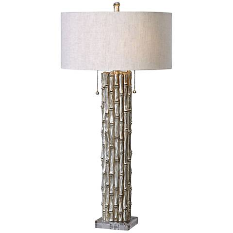 Uttermost Silver Bamboo Antiqued Metallic Table Lamp