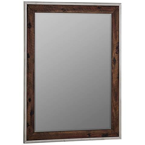 """Cooper Classics Clovis Wood 29 1/2"""" x 40 1/2"""" Wall Mirror"""