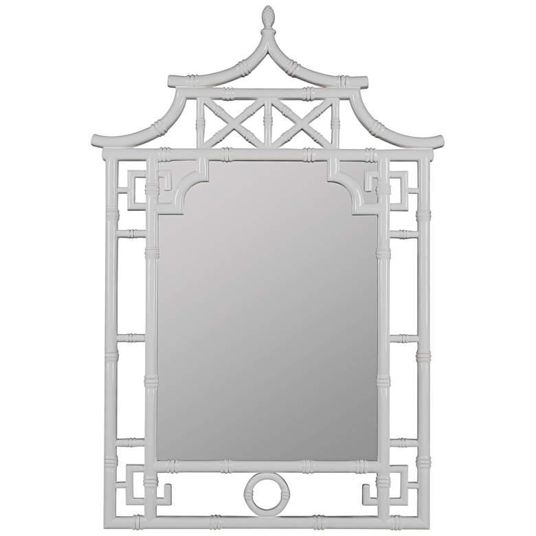 "Shing Glossy White 28"" x 42"" Pagoda Wall Mirror"