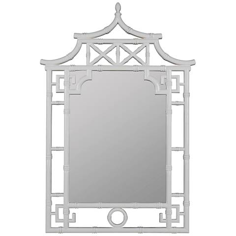 "Shing Glossy White 28 1/2"" x 42"" Pagoda Wall Mirror"