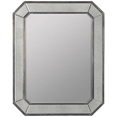 "Donato Antiqued Gray 31 3/4"" x 39"" Rectangular Wall Mirror"