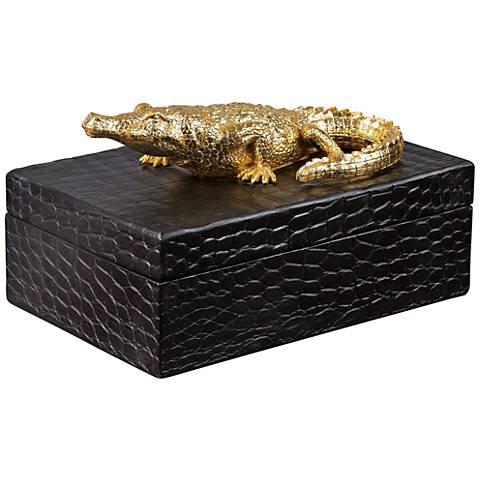 Uttermost Gold Alligator Black Faux Crocodile Decorative Box
