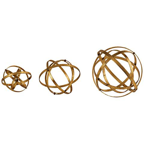 Uttermost Stetson 3-Piece Antiqued Gold Sphere Set