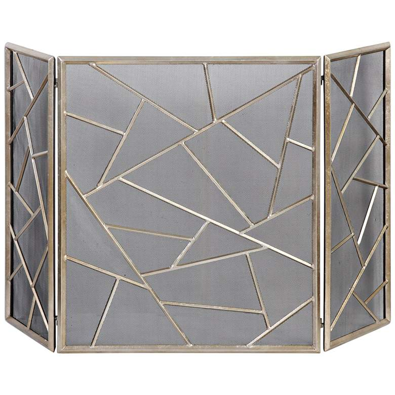 """Armino Antiqued Silver 30"""" High 3-Panel Fireplace Screen"""