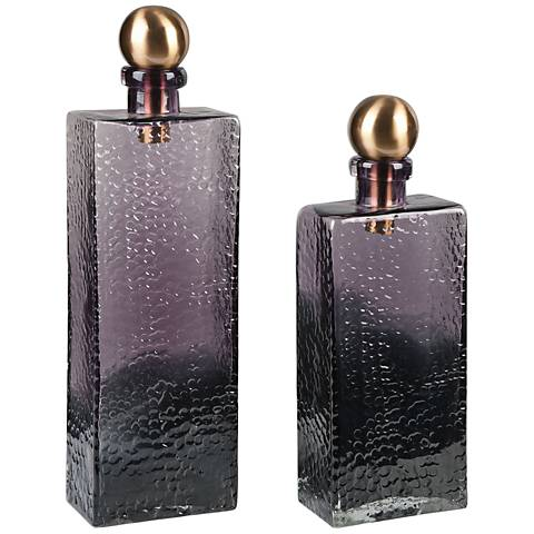 Benedetto Ombre Amber Glass 2-Piece Decorative Bottles Set