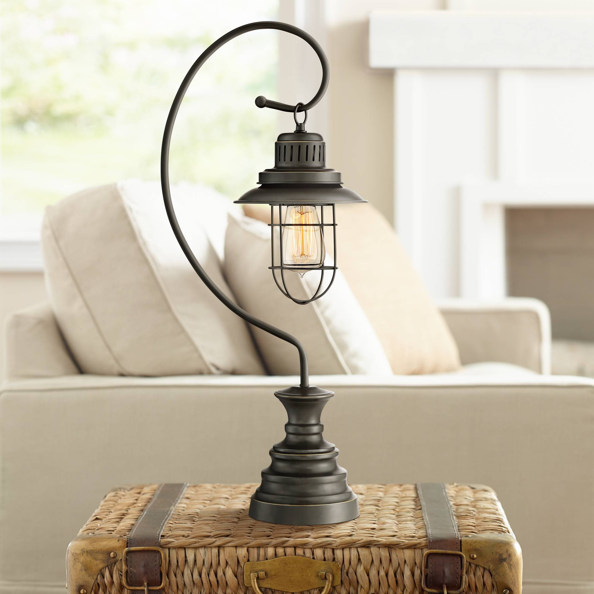 Rustic Desk Lamp Dark Oil Rubbed Bronze Wire Hanging Lantern For