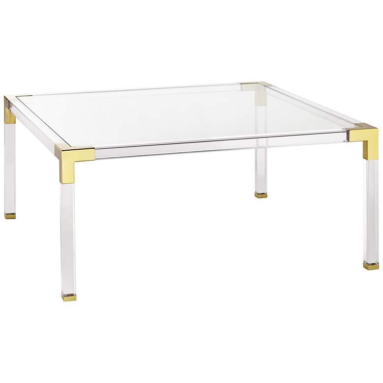 "Hanna 40"" Square Clear Acrylic Modern Coffee Table"