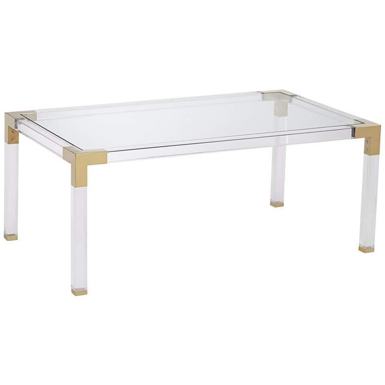 """Hanna 42"""" Wide Rectangular Clear Acrylic Coffee Table"""