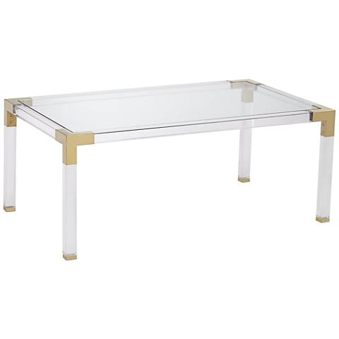 Hanna Rectangle Clear Acrylic Coffee Table with Gold Corners