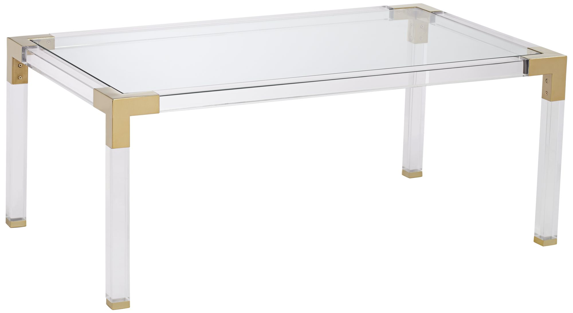 Charmant Hanna Rectangle Clear Acrylic Coffee Table With Gold Corners