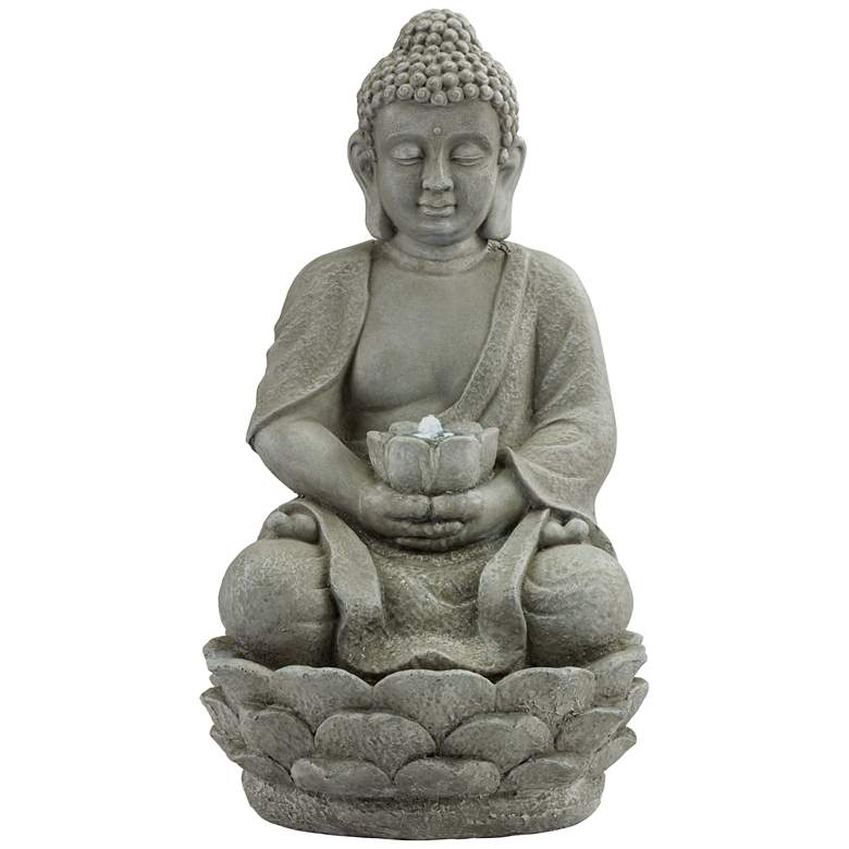 """Sitting Buddha 22"""" High LED Faux Stone Outdoor Fountain"""