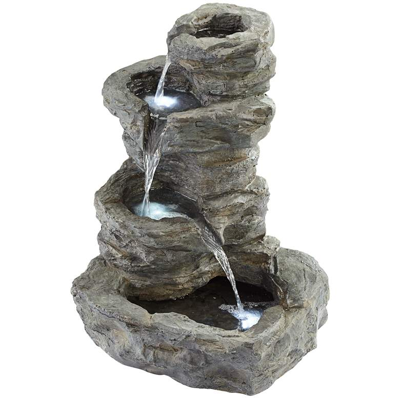 """Rock Cascade 22"""" Gray Stone Outdoor Fountain with"""